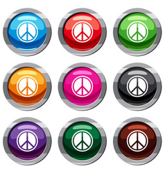 sign hippie peace set 9 collection vector image