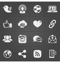 Social network icons on black set vector image