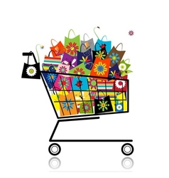 Supermarket cart with shopping bags for your vector image