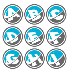 Swoosh Alphabet Logo Icons Set 1 vector image