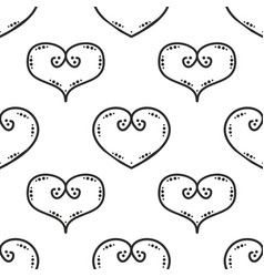 Tile pattern with black hearts on white background vector