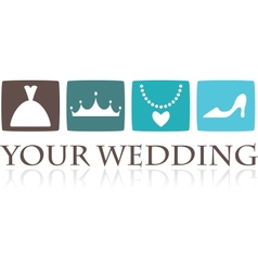 Wedding icons and graphic elements vector image vector image