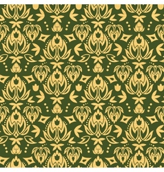 Wooden floral damask seamless pattern background vector image