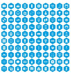 100 appliances icons set blue vector