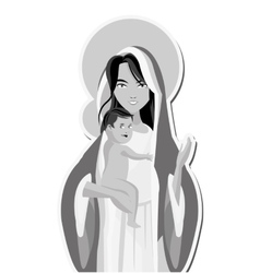 Holy mary holding baby jesus icon vector