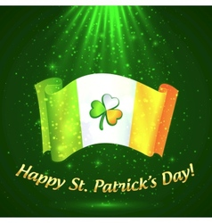 Celtic clover on Irish flag in magic lights vector image