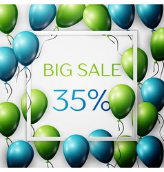 Realistic green and blue balloons with black vector