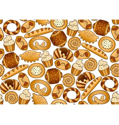 Seamless background with bakery products vector image