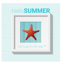 Hello summer background with starfish wall art vector