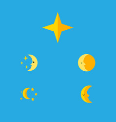 Flat icon bedtime set of lunar nighttime bedtime vector