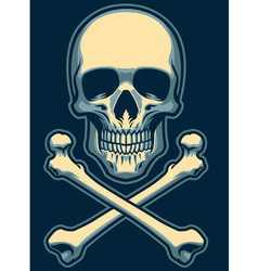 classic skull with crossed bones vector image