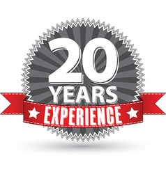 20 years experience retro label with red ribbon vector image vector image