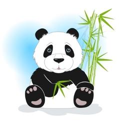 Sitting panda with green bamboo vector image