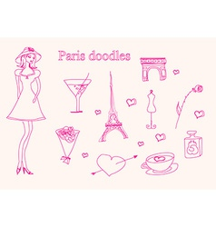 Paris doodles set vector