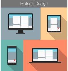 Flat modern responsive material design on various vector