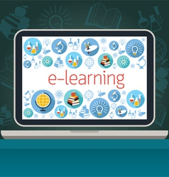Laptop with e-learning icons on screen vector