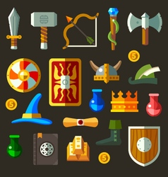Game weapon icons flat set vector