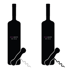 Bottle of red and white wine vector