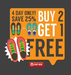 Buy 2 get 1 free sneakers promotion campaign vector