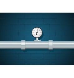 Pipe with manometer on wall background vector