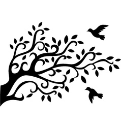 Tree silhouette with bird vector