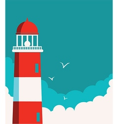 Lighthouse poster seascape background vector image