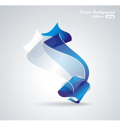 abstract background with blue and white ribbon vector image vector image