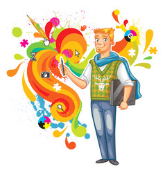 Artist-designer with laptop and stylus vector