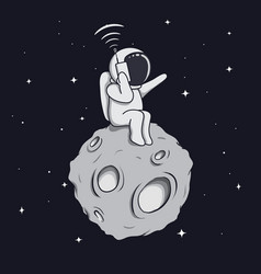Astronaut calls by mobile phone vector