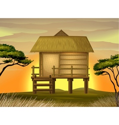 Bamboo hut vector