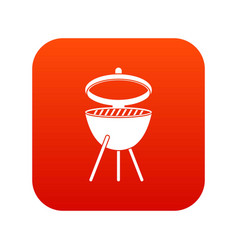Barbecue icon digital red vector