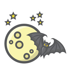bat with moon filled outline icon halloween scary vector image