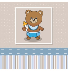 Bear with a baby bottle vector image vector image