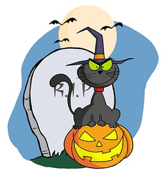 Black cat wearing a witch hat vector