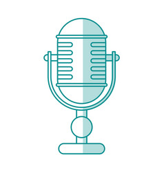blue shading silhouette of desk microphone of vector image
