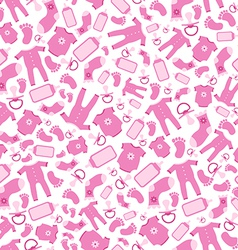 Bright pink baby born seamless pattern vector