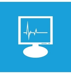 Cardiogram monitor icon white vector image