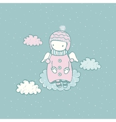 Cartoon angel in the sky vector