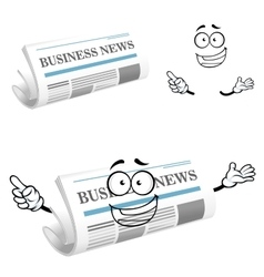 Cartoon joyful business newspaper character vector image vector image