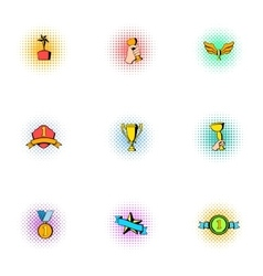 Championship icons set pop-art style vector