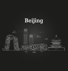 china beijing linear panoramic skyline vector image