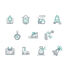 Christmas and winter simple line icons set vector image vector image