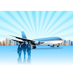 city and plane vector image vector image