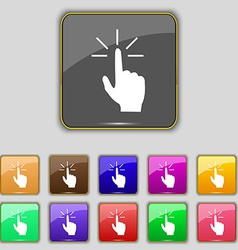 Click here hand icon sign A set of twelve vintage vector image vector image