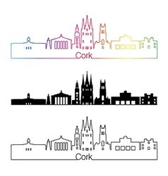 Cork skyline linear style with rainbow vector