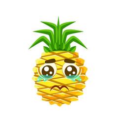 crying pineapple emoticon cute cartoon emoji vector image vector image