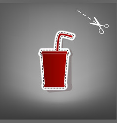 Drink sign red icon with for vector