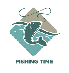 fishing time icon of fish catch template vector image vector image