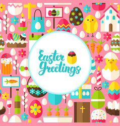 flat easter greetings postcard vector image vector image