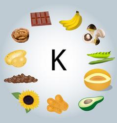 Food rich in potassium vector